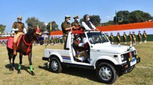 मुख्यमंत्री ने पुलिस लाईन में राष्ट्रीय एकता दिवस के अवसर पर आयोजित रैतिक परेड में प्रतिभाग किया