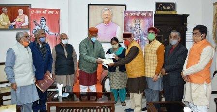 मुख्यमंत्री ने अयोध्या में श्रीराम मंदिर के निर्माण के लिए सहयोग राशि दी