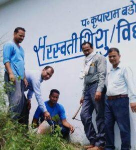 लोक पर्व हरेला के मौके पर सरस्वती शिशु विद्या मंदिर नकोट, मखलोगी में विद्यालय के नवनिर्मित भवन के चारों ओर वृक्षारोपण किया गया